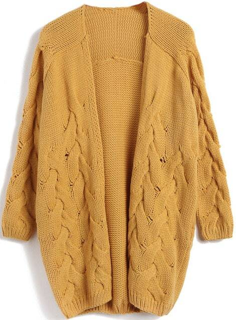 Yellow Long Sleeve Cable Knit Cardigan Sweater -SheIn(Sheinside)