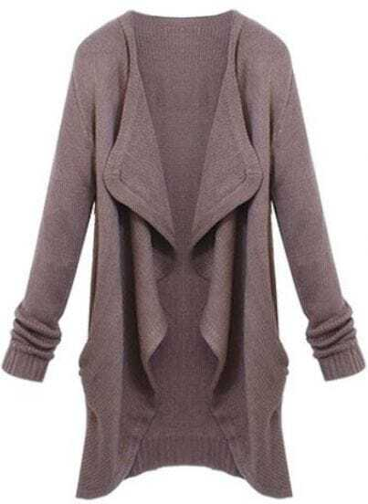 Brown Lapel Long Sleeve Loose Knit Cardigan -SheIn(Sheinside)