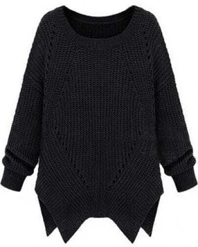 Black Long Sleeve Hollow Asymmetrical Sweater