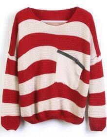 Red and White Stripes Loose Sweater with Pocket