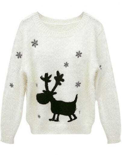 Beige Long Sleeve Deer Snowflake Pattern Sweater