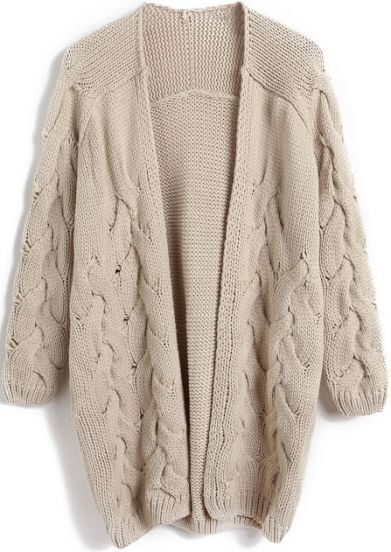 Apricot Long Sleeve Cable Knit Cardigan Sweater