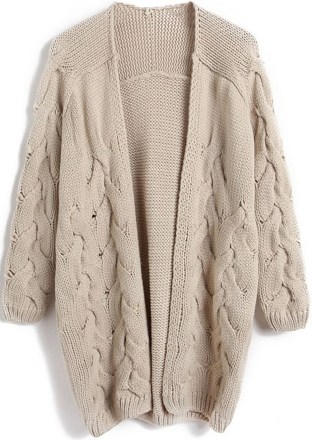 Apricot Long Sleeve Cable Knit Cardigan Sweater -SheIn(Sheinside)
