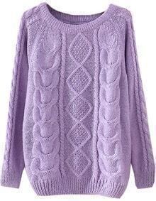 Purple Long Sleeve Diamond Patterned Knit Sweater