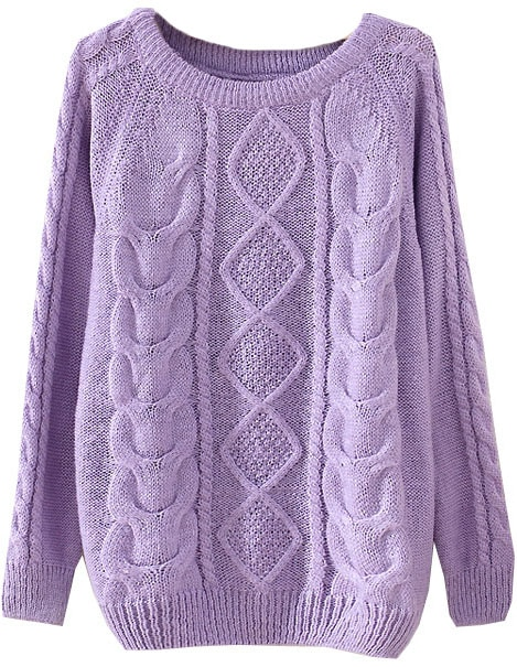 Purple Long Sleeve Diamond Patterned Knit Sweater -SheIn(Sheinside)