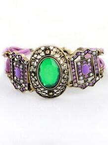Green Purple Gemstone Retro Gold Bracelet