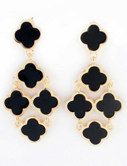 Black Gold Flowers Earrings
