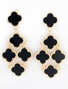 Black Gold Flowers Earrings