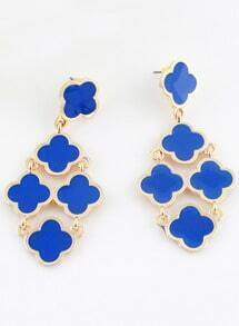 Blue Gold Flowers Earrings