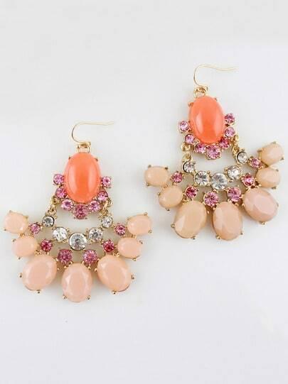 Pink Gemstone Gold Dangle Earrings