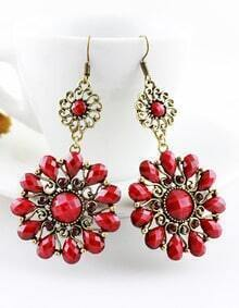 Red Gemstone Gold Vintage Dangle Earrings