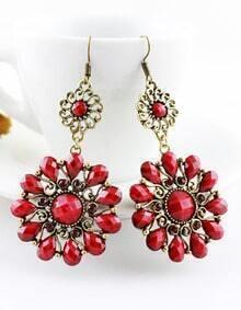 Red Gemstone Gold Vintage Dangle Earrings