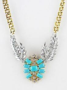Blue Gemstone Gold Diamond Leaf Necklace