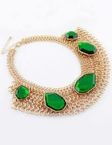 Green Gemstone Gold Chain Collar Necklace