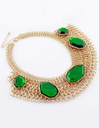 Green Gemstone Gold Chain Collar Necklace