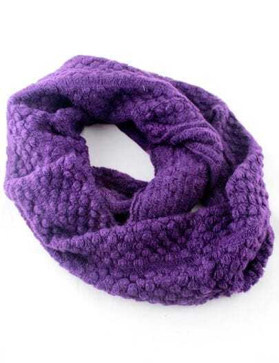Purple Twisted Ball Knit Scarves