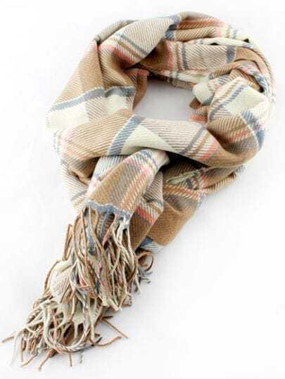 Khaki Plaid Tassel Scarves