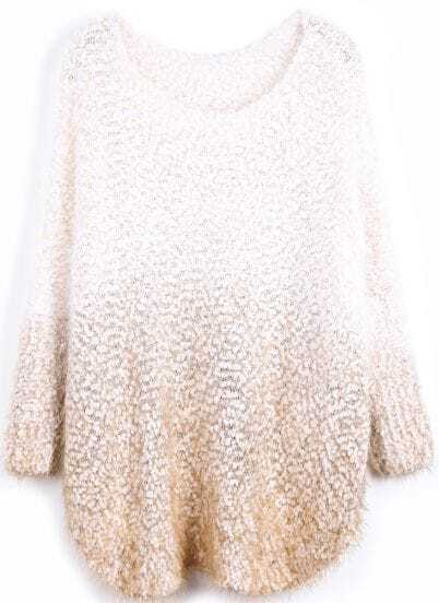 Apricot Gradients Long Sleeve Loose Mohair Sweater