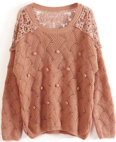 Khaki Long Sleeve Contrast Lace Hollow Sweater