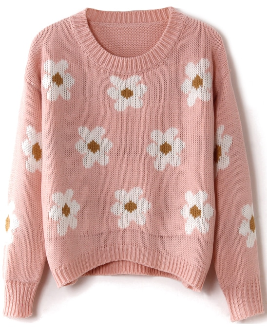 Pink Long Sleeve Sunflower Pattern Knit Sweater -SheIn(Sheinside)