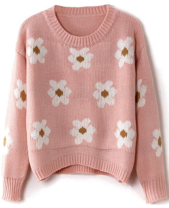 Pink Long Sleeve Sunflower Pattern Knit Sweater -SheIn(Sheinside)
