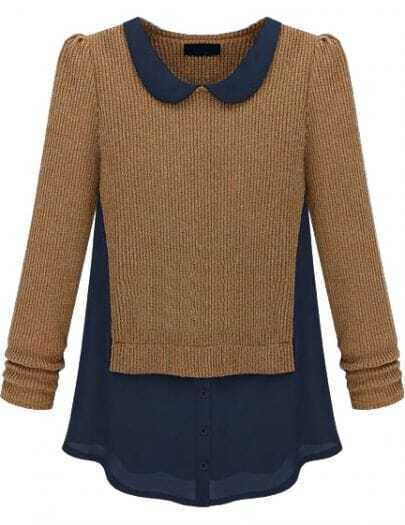 Khaki Long Sleeve Contrast Chiffon Knit Sweater