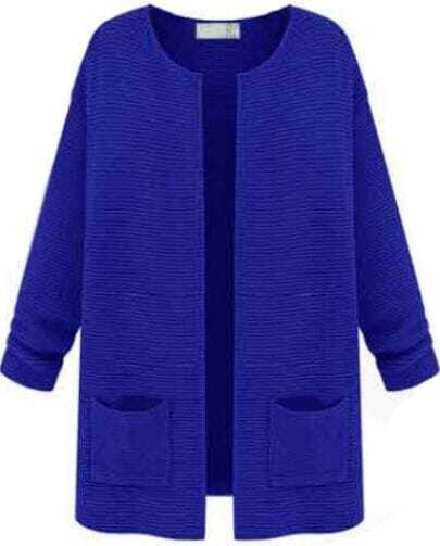 Royal Blue Round Neck Double Pockets Open Knit Cardigan