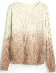 Pink Gradients Long Sleeve Cable Knit Sweater