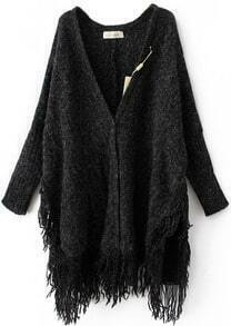Black Batwing Long Sleeve V-neck Tassel Hem Cardigan