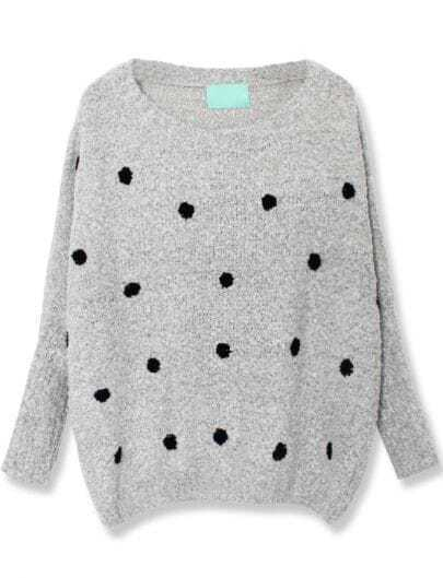 Grey Long Sleeve Polka Dot Loose Sweater