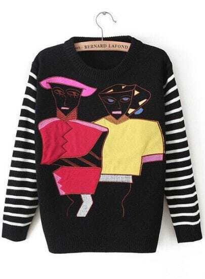 Black Striped Long Sleeve Portraits Print Sweater