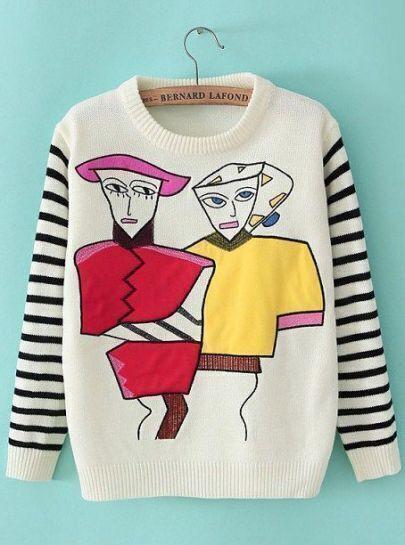 White Striped Long Sleeve Portraits Print Sweater