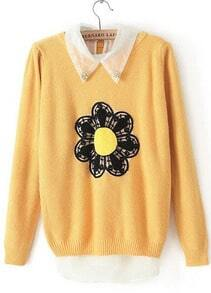 Yellow Long Sleeve Sunflower Pattern Two Pieces Sweater