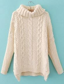 Beige High Neck Batwing Long Sleeve Cable Knit Sweater