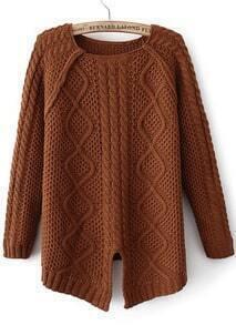 Camel Long Sleeve Split Dipped Hem Sweater