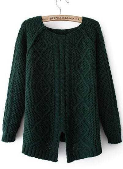 Green Long Sleeve Split Dipped Hem Sweater