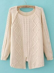Beige Long Sleeve Split Dipped Hem Sweater