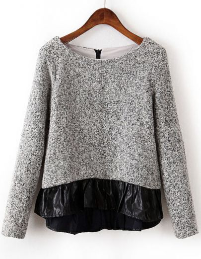Grey Long Sleeve Contrast PU Leather Blouse