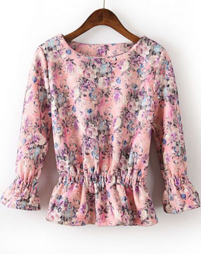 Pink Long Sleeve Ruffle Floral Blouse