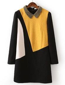Black Contrast Yellow Lapel Straight Dress