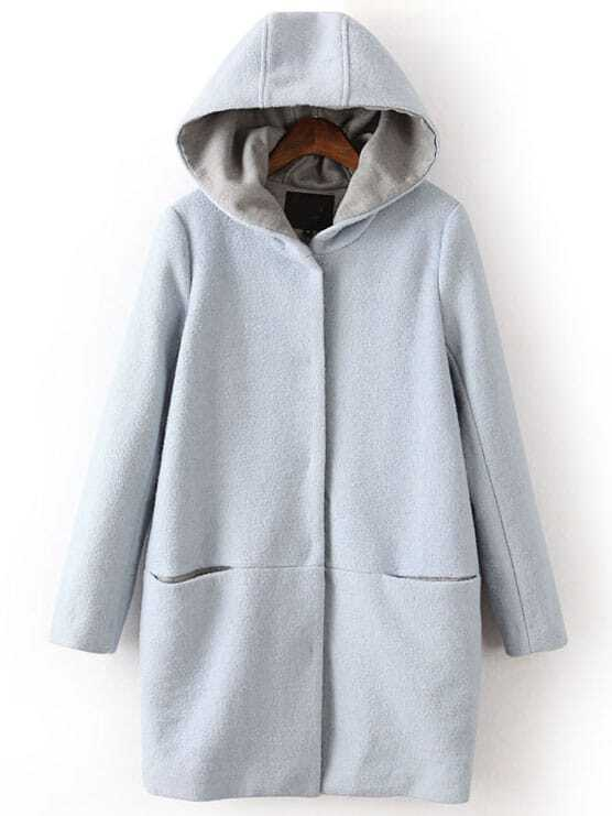 Light Blue Hooded Long Sleeve Pockets Woolen Coat -SheIn(Sheinside)