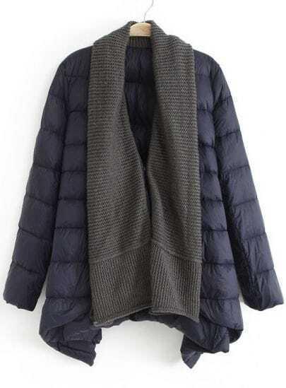 Navy Shawl Collar Long Sleeve Down Coat