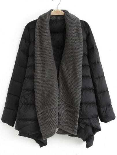 Black Shawl Collar Long Sleeve Down Coat