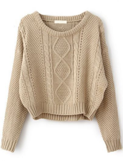Khaki Long Sleeve Cable Knit Pullover Sweater