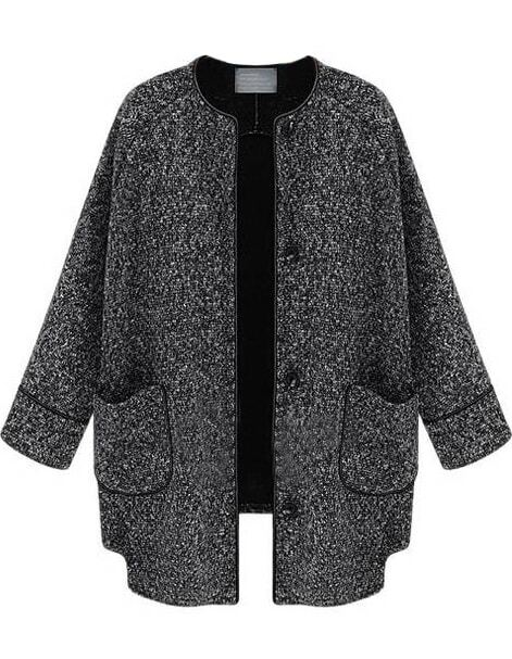Black Long Sleeve Pockets Tweed Coat -SheIn(Sheinside)