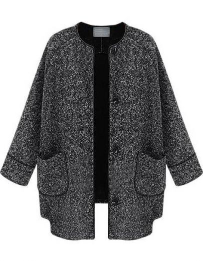 Black Long Sleeve Pockets Tweed Coat