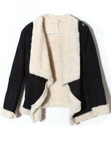 Black Lapel Long Sleeve Epaulet Faux Fur Coat