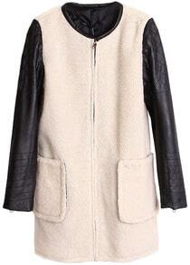 White Contrast Leather Cuff Zipper Pockets Coat