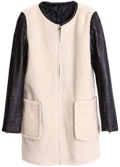 Mantel mit Lederärmeln und Taschen, weiß