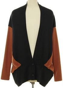 Black Contrast Yellow Batwing Sleeve Cardigan